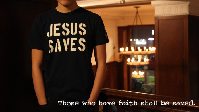JESUS SAVES TEE BANNER
